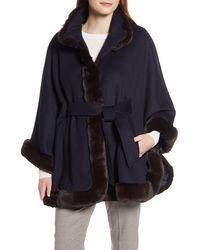 Ellen Tracy Wool Blend Cape Coat With Faux Fur Trim - Blue