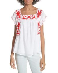 Joie - Cleavon Embroidered Crinkle Cotton Peasant Top - Lyst