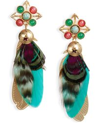Gas Bijoux Small Sao Feather Earrings - Green