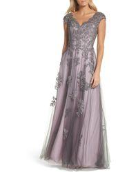 La Femme Embellished Mesh A-line Gown - Pink