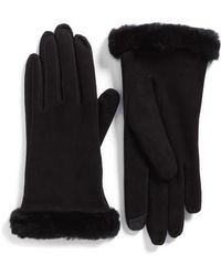 UGG - Ugg Classic Suede Tech Gloves With Genuine Shearling Trim - Lyst