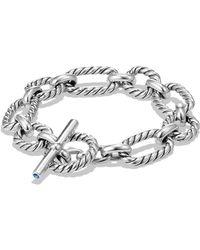 David Yurman Chain Cushion Link Bracelet With Blue Sapphire In Sterling Silver - Metallic