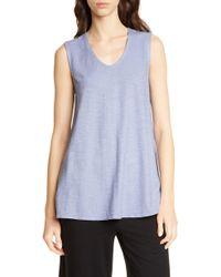 Eileen Fisher V-neck Hemp & Organic Cotton Shell - Blue