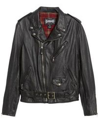 Schott Nyc - Cafe Racer Leather Jacket - Lyst