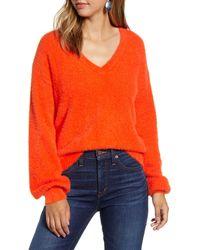 Halogen - Halogen Fuzzy V-neck Sweater - Lyst