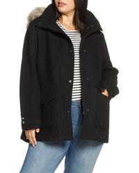 Marc New York Faux Fur Trim Hooded Duffle Coat - Black