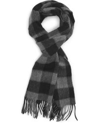 Nordstrom Check Cashmere Scarf - Gray