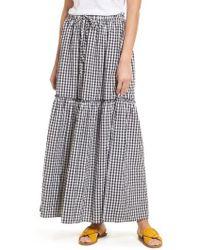 Caslon - Caslon Drawstring Ruffle Cotton Maxi Skirt - Lyst