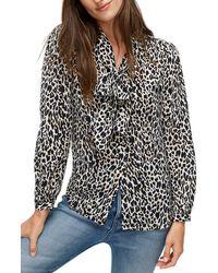 J.Crew Leopard Tie Neck Silk Blouse - Black