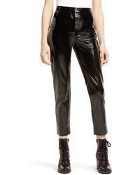 Leith Straight Leg Faux Leather Pants - Black