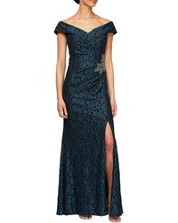 Alex Evenings Off The Shoulder Beaded Gown - Blue