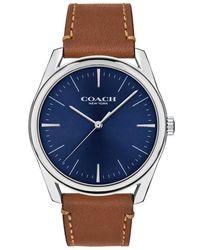 COACH Preston Leather Strap Watch - Multicolor