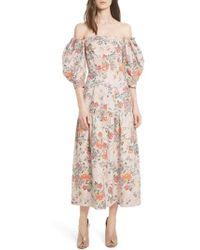 Rebecca Taylor - Marlena Off The Shoulder Floral Midi Dress - Lyst