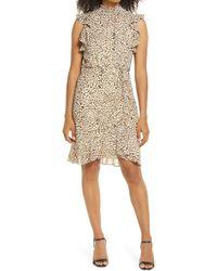 Sam Edelman High Neck Sleeveless Smocked Dress - Multicolor