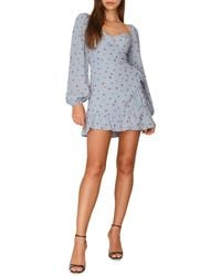 Reformation Cammi Long Sleeve Minidress - Blue
