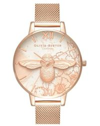 Olivia Burton - Abstract Floral Mesh Strap Watch - Lyst