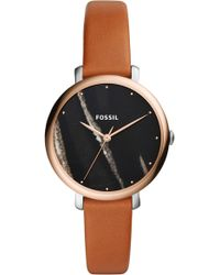 Fossil - Jacqueline Stone Dial Leather Strap Watch - Lyst