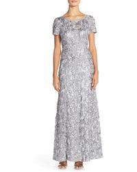 Alex Evenings Embellished Lace A-line Gown - Multicolour