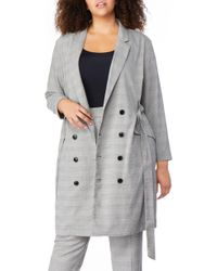REBEL WILSON X ANGELS Plaid Belted Blazer Dress (plus Size) - Gray