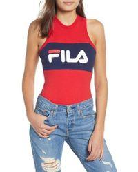 Fila - Riley Logo Tank Bodysuit - Lyst