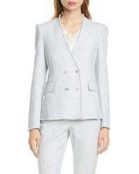 TAILORED BY REBECCA TAYLOR Cotton Blend Slub Suit Jacket - Gray