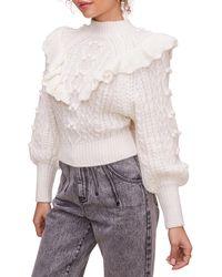 Astr Judy Stitch Mix Sweater - White