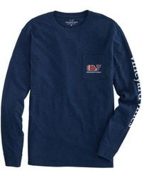 Vineyard Vines Textured Football Long Sleeve Pocket T-shirt - Blue