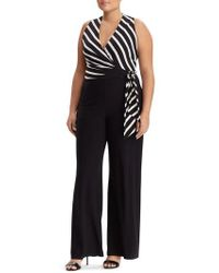 Lauren by Ralph Lauren - Stripe Sleeveless Jumpsuit - Lyst