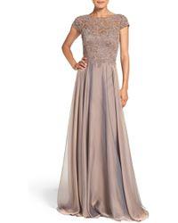 La Femme Embellished Lace & Satin Ballgown - Multicolor