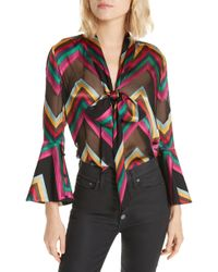 Alice + Olivia - Meredith Bow Blouse - Lyst