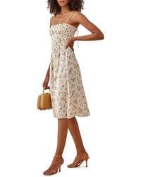 Reformation - Sable Smocked Bodice Midi Dress - Lyst