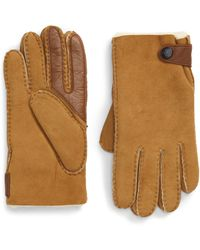 UGG UGG Genuine Shearling Lined Leather Tech Gloves - Brown