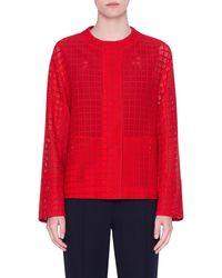 Akris Punto Mesh Lace Jacket - Red