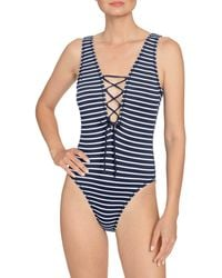 Robin Piccone Sailor Lace-up Plunge One-piece Swimsuit - Blue