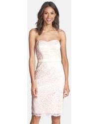 Dessy Collection | Strapless Lace Overlay Matte Satin Dress | Lyst