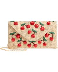 Nordstrom Cherry Embellished Straw Envelope Clutch - Natural