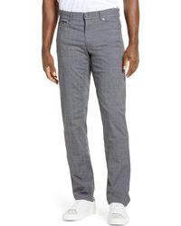 Brax Cooper Fancy Houndstooth Plaid Five-pocket Pants - Gray