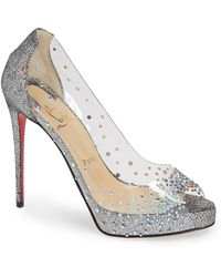 e8a905f700b Christian Louboutin - Very Strass Embellished Peep Toe Pump - Lyst