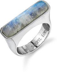Sheryl Lowe Moonstone Bar Ring - Metallic