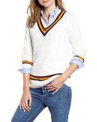 Tommy Hilfiger Tipped V-neck Varsity Sweater - White
