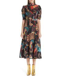 474862e42f3 Lyst - Just Cavalli  tattoo  Print Drop Waist Dress in Black