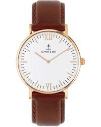 KAPTEN & SON - Campus Leather Strap Watch - Lyst