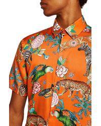 TOPMAN - Slim Fit Animal Print Shirt - Lyst