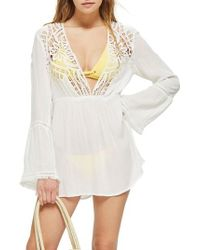 TOPSHOP Crochet Caftan Cover-up - White