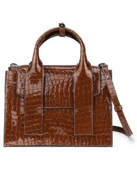 Ganni Croc Embossed Patent Leather Satchel - Brown