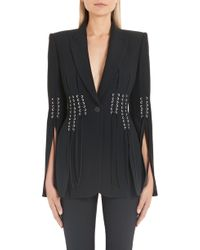 782a39744f Alexander McQueen Jewelled Leaf Viscose Crepe Jacket in Black - Lyst