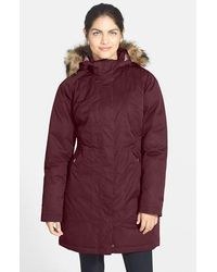 The North Face 'arctic' Down Parka With Removable Faux Fur Trim Hood - Red