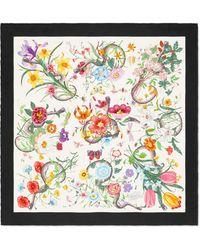 Gucci Flora Snake Print Silk Scarf - White