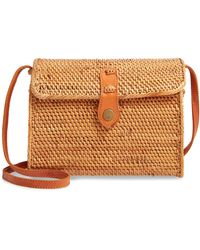Nordstrom Anderson Structured Rattan Flap Crossbody Bag - Natural