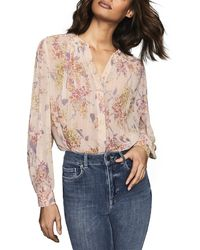 Reiss Handan Romantic Floral Print Blouse - Pink